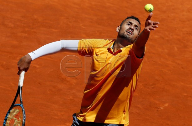 Australian player Nick Kyrgios in action during his first round match against German Jan-Lennard Struff at the Mutua Madrid Open tennis tournament, in Madrid, Spain, 05 May 2019.  EPA-EFE/CHEMA MOYA