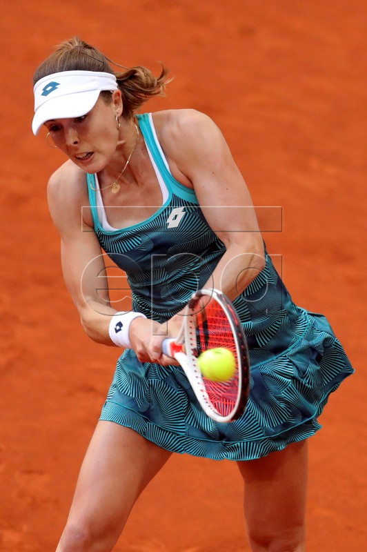 Alize Cornet of France in action during her first round match against Caroline Wozniacki from Denmark at the Mutua Madrid Open tennis tournament, in Madrid, Spain, 05 May 2019.  EPA-EFE/JUANJO MARTIN