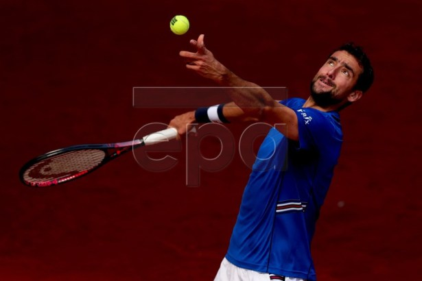Croatia's Marin Cilic in action during his second round match against the German Jan-Lennard Struff at the Mutua Madrid Open tennis tournament in Madrid, Spain, 07 May 2019.  EPA-EFE/JUANJO MARTIN