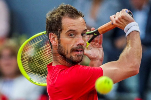 France's Richard Gasquet in action during his first round match against Swiss player Roger Federer at the Mutua Madrid Open tennis tournament in Madrid, Spain, 07 May 2019. EPA-EFE/JUANJO MARTIN