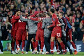 Liverpool players celebrate after winning the UEFA Champions League semi final second leg soccer match between Liverpool FC and FC Barcelona in Liverpool, Britain, 07 May 2019. Liverpool won 4-0 and advanced to the final  EPA-EFE/PETER POWELL