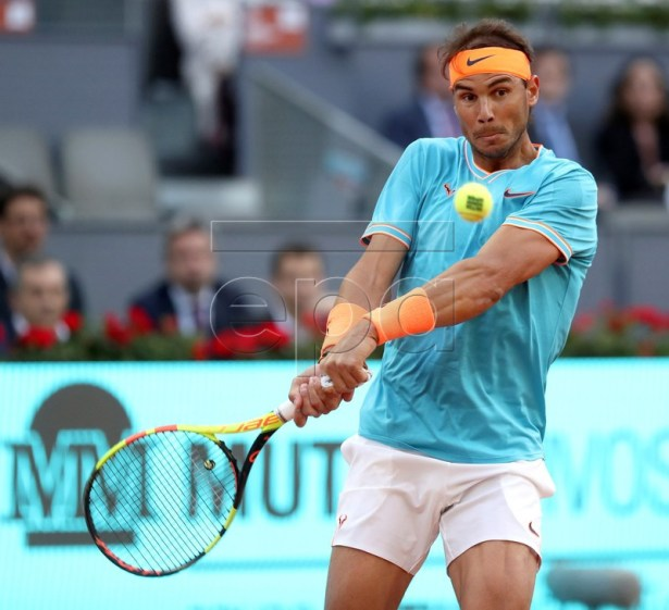 Rafael Nadal of Spain in action during his match against Frances Tiafoe of US at the Mutua Madrid Open tennis tournament in Madrid, Spain, 09 May 2019.  EPA-EFE/KIKO HUESCA