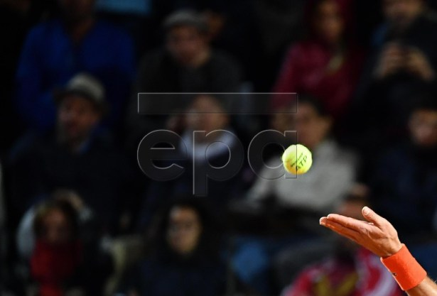 Novak Djokovic of Serbia in action against Juan Martin Del Potro of Argentina during their men's singles quarter final match at the Italian Open tennis tournament in Rome, Italy, 17 May 2019.  EPA-EFE/ETTORE FERRARI