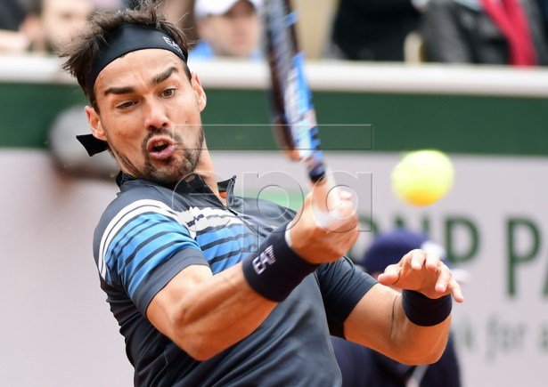 Fabio Fognini of Italy plays Andreas Seppi of Italy during their men?s first round match during the French Open tennis tournament at Roland Garros in Paris, France, 28 May 2019.  EPA-EFE/CAROLINE BLUMBERG