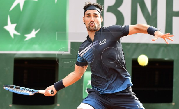 Fabio Fognini of Italy plays Federico Delbonis of Argentina during their men?s second round match during the French Open tennis tournament at Roland Garros in Paris, France, 30 May 2019. EPA-EFE/CAROLINE BLUMBERG