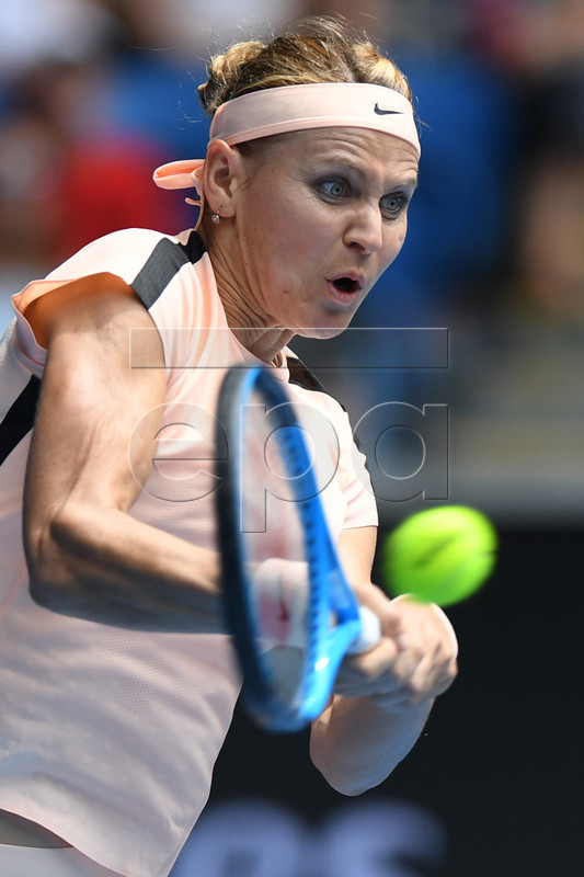 Lucie Safarova of the Czech Republic in action against Karolina Pliskova of the Czech Republic during round three on day six of the Australian Open tennis tournament, in Melbourne, Victoria, Australia, 20 January 2018.  EPA-EFE/LUKAS COCH  AUSTRALIA AND NEW ZEALAND OUT