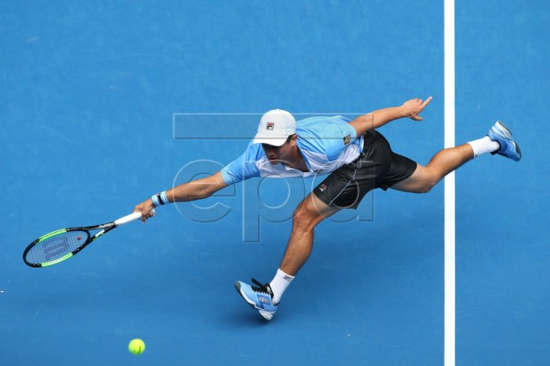 Mackenzie McDonald of the USA in action against Marin Cilic of Croatia during their men's singles second round match at the Australian Open Grand Slam tennis tournament in Melbourne, Australia, 16 January 2019.  EPA-EFE/HAMISH BLAIR AUSTRALIA AND NEW ZEALAND OUT