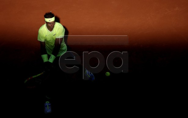 Rafael Nadal of Spain plays David Goffin of Belgium during their men?s third round match during the French Open tennis tournament at Roland Garros in Paris, France, 31 May 2019. EPA-EFE/YOAN VALAT