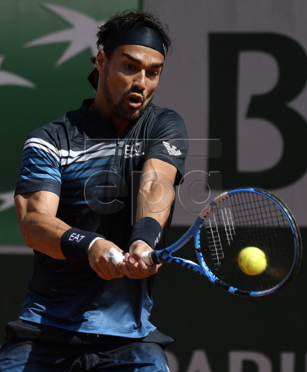 Fabio Fognini of Italy plays Roberto Bautista Agut of Spain during their men?s third round match during the French Open tennis tournament at Roland Garros in Paris, France, 01 June 2019. EPA-EFE/JULIEN DE ROSA