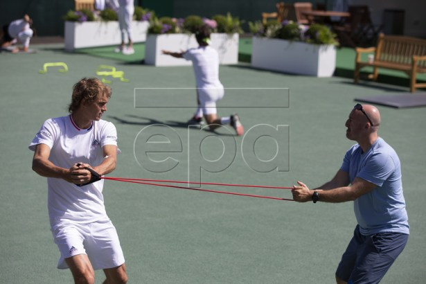 Alexander Zverev of Germany warms up prior to a training session at the All England Lawn Tennis Championships in Wimbledon, London, on Thursday, June 27, 2019. EPA-EFE/PETER KLAUNZER EDITORIAL USE ONLY; NO SALES, NO ARCHIVES