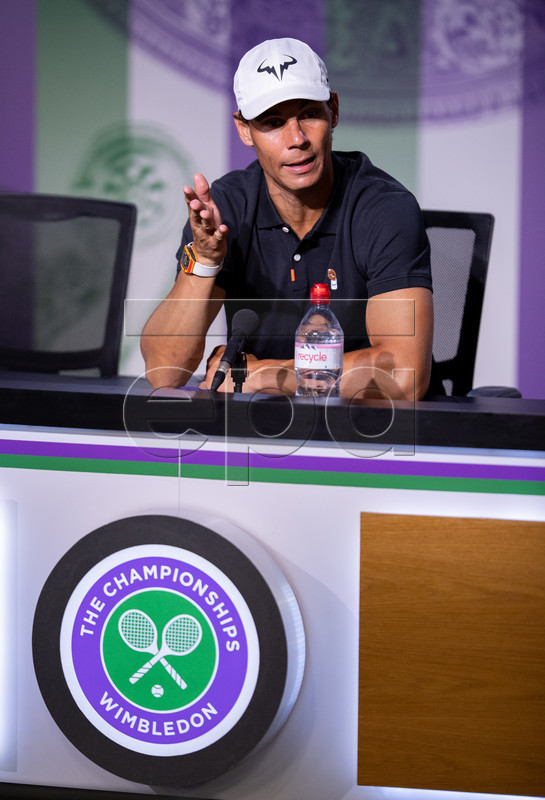A handout photo made available by the AELTC shows Rafael Nadal of Spain addressing to media during his pre-Championships press conference in the Main Interview Room during the Wimbledon Championships at the All England Lawn Tennis Club, in London, Britain, 29 June 2019. EPA-EFE/Florian Eisele EDITORIAL USE ONLY/NO COMMERCIAL SALES