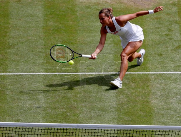 Barbora Strycova of the Czech Republic in action against Serena Williams of the USA during their semi final match for the Wimbledon Championships at the All England Lawn Tennis Club, in London, Britain, 11 July 2019. EPA-EFE/Alastair Grant / POOL EDITORIAL USE ONLY/NO COMMERCIAL SALES