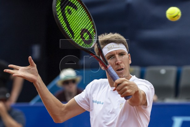 Cedrik-Marcel Stebe of Germany in action against to Joao Sousa of Portugal during a semi final game at the Swiss Open tennis tournament in Gstaad, Switzerland, on Saturday, July 27, 2019. EPA-EFE/PETER SCHNEIDER