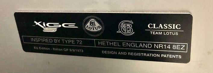 Lotus Exige S Type 72 - plaque EU