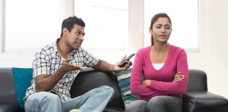 Indian couple having a disagreement about relationship without titles
