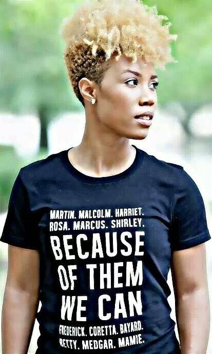Young black lady wearing a t