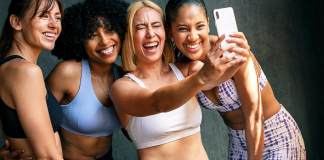 Cheerful sporty women taking a selfie