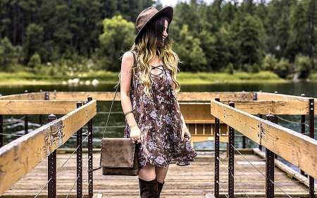 What to wear on a first date? a dress, hat and boots look good on you.