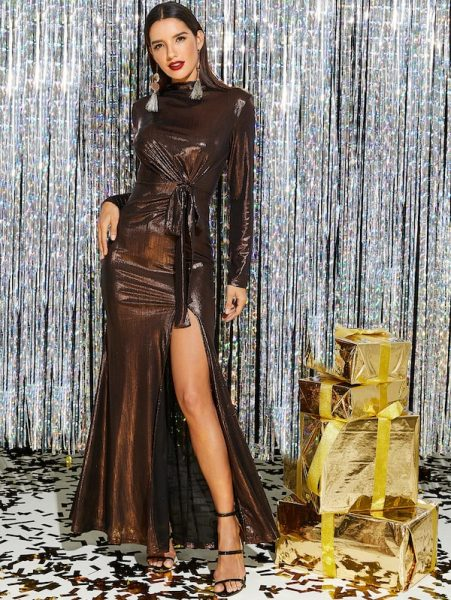 New Year's Eve outfit  Knot Front High Slit Metallic Dress