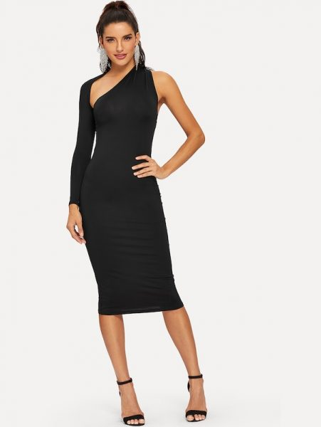 New Year's Eve outfit One Shoulder Skinny Dress