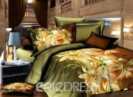 Vivilinen Charming Lily Print 4 Piece Polyester 3D Bedding Sets