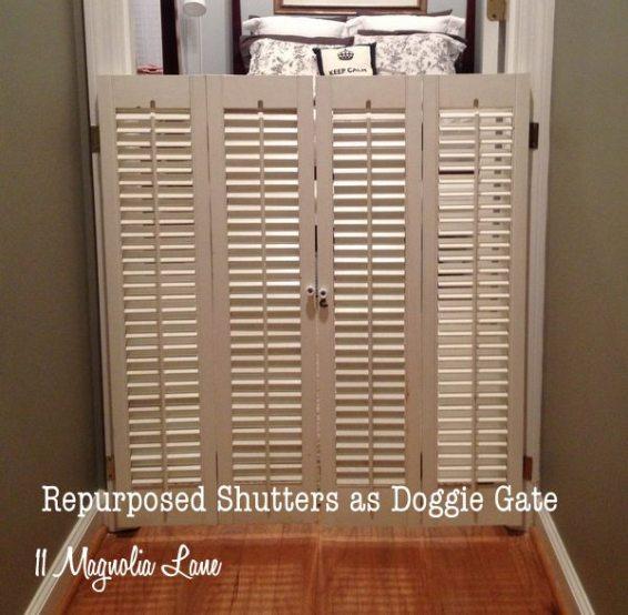 Repurpose old shutters - doggie door -11 magnolia lane