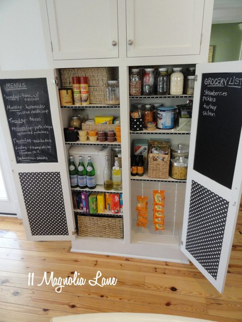 Organized small pantry with contact paper on the cupboard doors | 11 Magnolia Lane