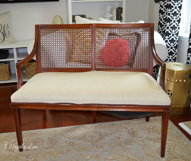 Thrift Store Transformation DIY Cane BenchLiving Rich On Less
