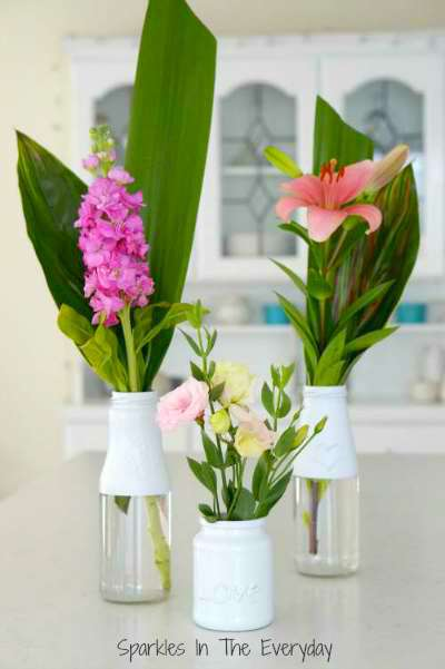 flower-and-recycled-bottles-for-beautiful-vases-Sparkles-In-The-Everyday