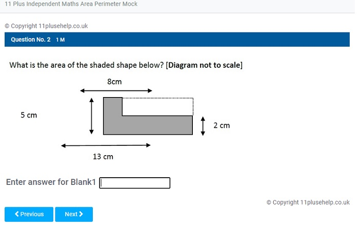 11 Plus Independent School Maths Area and Perimeter Mock