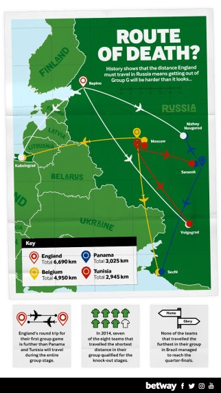 Map Of England 950.England Must Overcome Avoid Travel Woes At World Cup In Russia 11v11