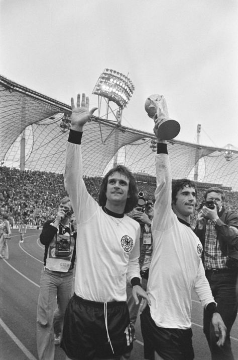 Gerd Müller (right) celebrating after winning the 1974 FIFA World Cup