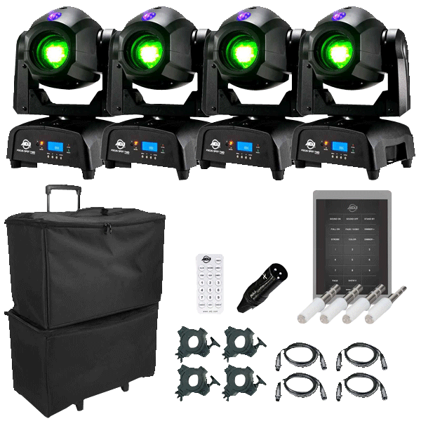 4 american dj focus spot two high powered 75w led moving head with motorized focus package