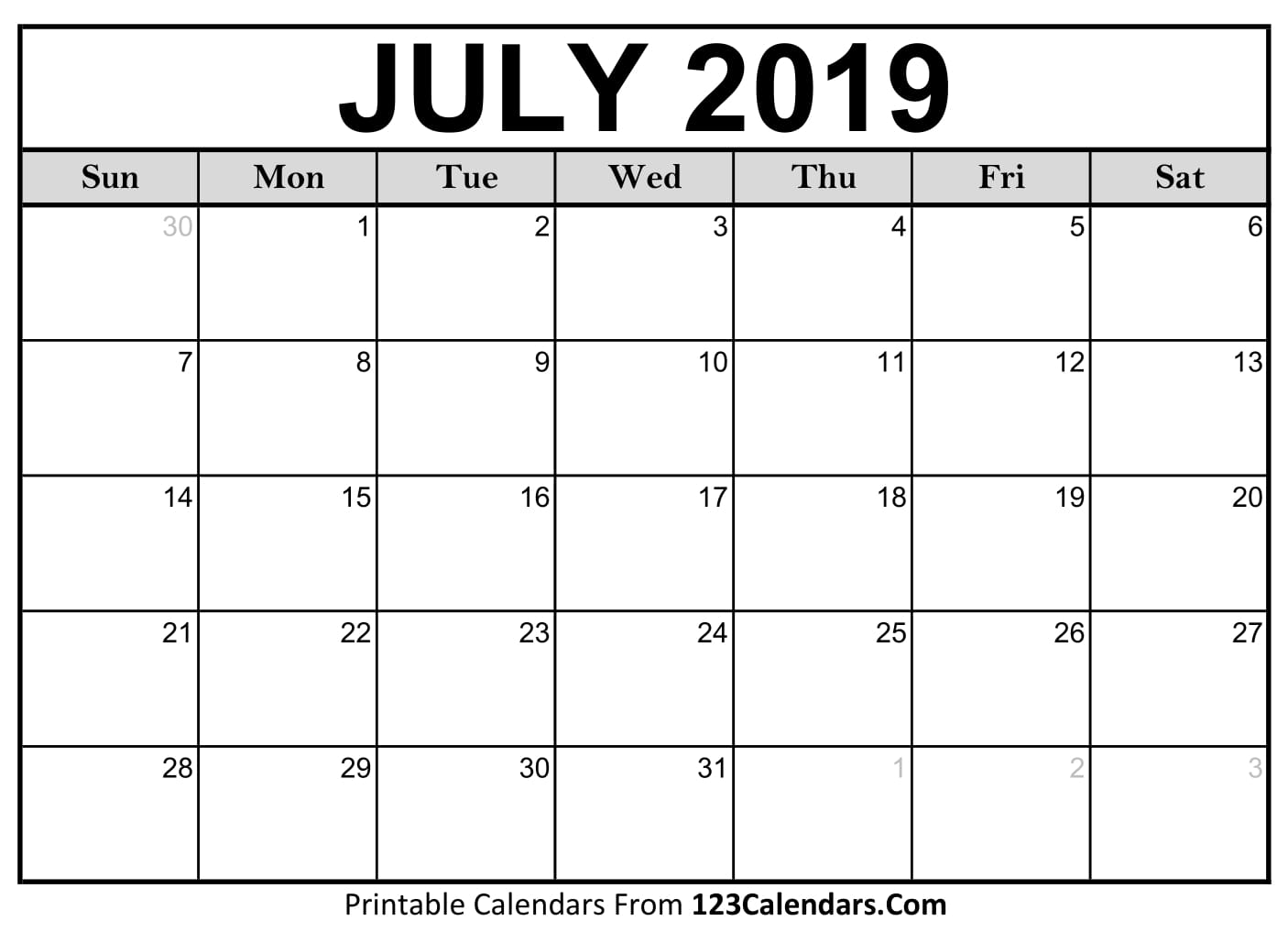 Free 5 July Calendar Printable Template