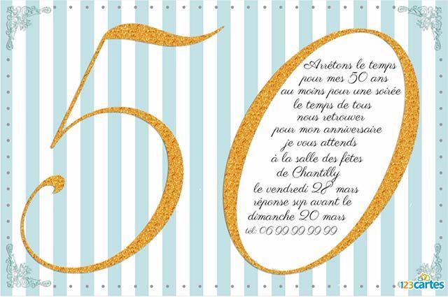carte invitation originale anniversaire 50 ans shenika remonatas