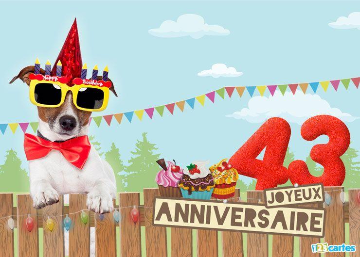carte anniversaire 43 ans le chien à lunettes