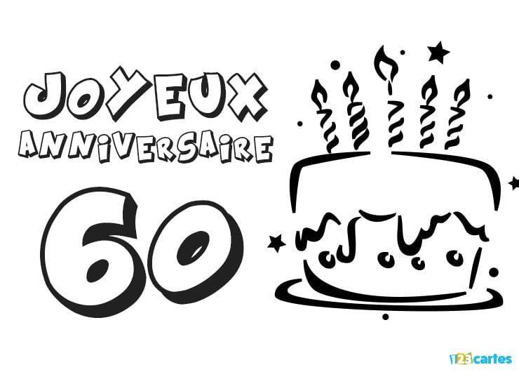 Coloriage Gateau Sans Bougie.16 Cartes Joyeux Anniversaire Age 60 Ans Gratuits 123 Cartes