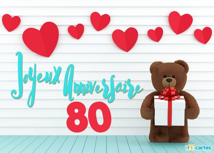 16 Cartes Joyeux Anniversaire âge 80 Ans Gratuits 123 Cartes