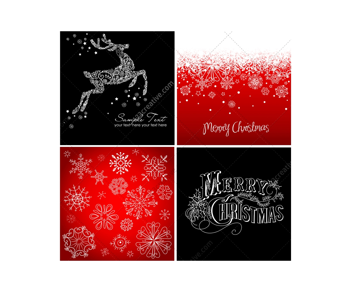 Christmas Cards And Backgrounds Vectors Various Card