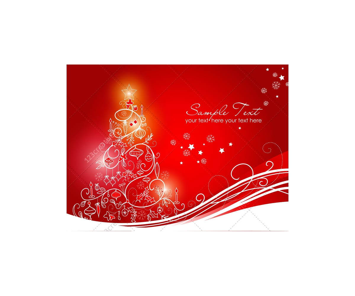 Greeting Cards With Christmas Tree Vector Graphics