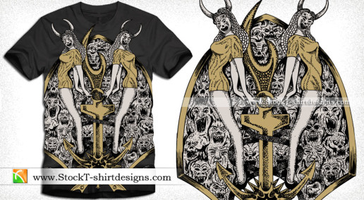 Demon Women with Anchor Vector Tee Design