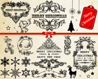 Vector Christmas Decoration Frames & Floral Elements