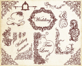 Ornamental Wedding Decoration Elements Vector