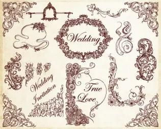 Ornamental Wedding Decoration Elements Vector