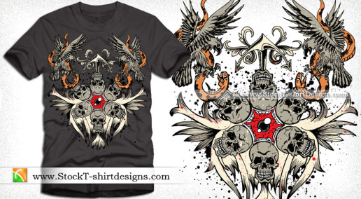 Vector T-shirt Design with Skull Eagle and Snake