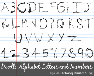 Scribble Series: Doodle Alphabet Letters and Numbers Vector Pack