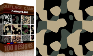Vector Seamless Camouflage Pattern 3 Color