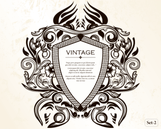 Vintage Heraldic Shield with Floral Ornament Vector
