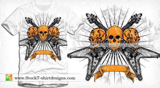 Vector Tee Design with Skull Guitar Floral and Banner