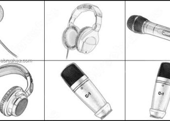 Microphone – Headphone Brushes Photoshop